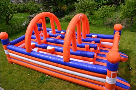 Bouncy castle with obstacles